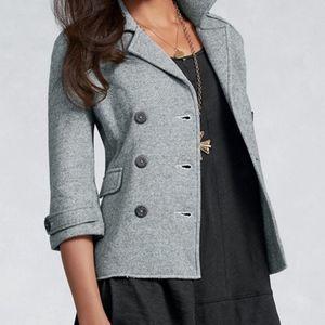 CAbi Double Breasted Military Style Peacoat Grey/Black Size Medium